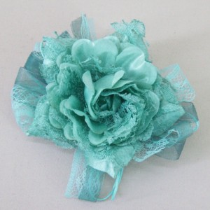 Jade Green Vintage Ribbon and Lace Rose Hair Clip or Brooch - HFL210