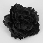 Large Black Satin Peony Clip or Corsage - HFL038