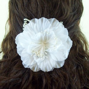 Large Ivory Silk Flower on Double Comb - HFL070