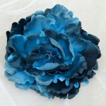 Large Midnight Blue Satin Peony Clip or Corsage - HFL034