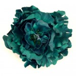 Large Teal Green Satin Peony Clip or Corsage - HFL035