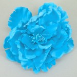 Large Turquoise Satin Peony Clip or Corsage - HFL036