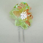 Lime Chiffon Sparkle Flower Hair Pin - HFL026