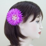 Mauve Flower and Pearl Hair Clip or Corsage - HCH002