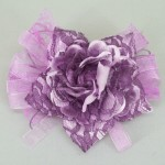 Mauve Vintage Ribbon and Lace Rose Hair Clip or Brooch - HFL052