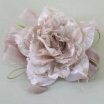 Mocha Vintage Ribbon and Lace Rose Hair Clip or Brooch - HFL209