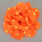 Neon Orange Polka Dot Flower Hair Clip - HFL024