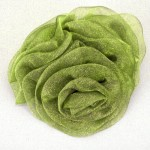 Olive Green Chiffon Triple Rose Hair Clip or Brooch - HFL059