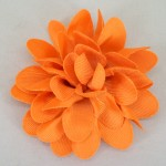 Orange Grosgrain Flower Hair Clip - HFL043