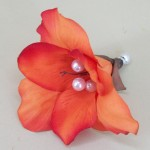 Orange Hibiscus Flower Hair Clip - HFL078