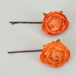 Orange Ranunculus Bobby Pins - HFL094