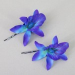 Orchid Flower Hair Accessories Blue 2 Pack  - OHF019