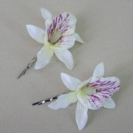 Orchid Flower Hair Accessories Cream 2 Pack  - OHF016