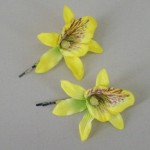 Orchid Flower Hair Accessories Yellow 2 Pack OHF018