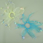 Pair of Windmill Scrunchies Ponytail Holders Blue and Lemon - HFL163