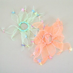 Pair of Windmill Scrunchies Ponytail Holders Lime and Orange - HFL164