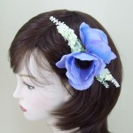 Pale Blue Anemone and Lavender Hair Clip or Corsage - HFL001