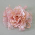 Peach Vintage Ribbon and Lace Rose Hair Clip or Brooch - HFL208