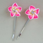 Pink Polymer Flower Hair Grips x 2 - PHF003