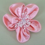 Pink Satin Flower Hair Clip - HFL042