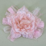 Pink Vintage Ribbon and Lace Rose Hair Clip or Brooch - HFL050