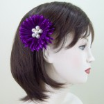 Purple Flower and Pearl Hair Clip or Corsage - HCH001