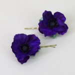 Purple Poppy Flower Bobby Pins - HFL239