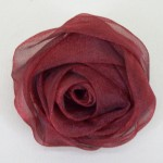 Ruby Red Chiffon Rose Hair Clip or Brooch - HFL055