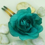 Rockabilly Hair Comb Teal Green Rose - HFL139