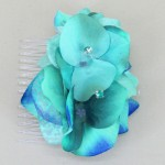 Turquoise Hydrangea Floral Hairslide - HFL109