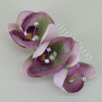 Vintage Aubergine Orchid and Crystal Hair Comb - HFL065