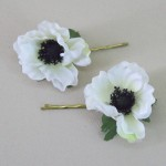 White Anemone Hair Grips 2 Pack - HFL217