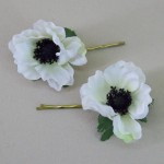 White Poppy Flower Bobby Pins - HFL238