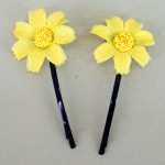 Yellow Daisy Hair Grips - HFL019