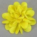 Yellow Grosgrain Flower Hair Clip - HFL045