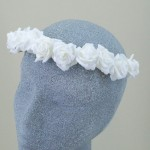Bridal Hair Flower Crown White Roses - HFL129
