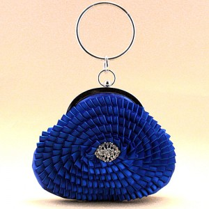 Blue Satin Evening Bag - EBA008