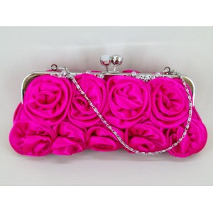 Cerise Pink Satin Evening Bag - EBA013