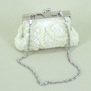 Cream Beaded Evening Bag - EBA019