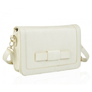 Faux Leather Clutch Bag with Bow Pearlescent Cream - DBA007