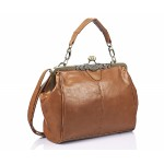 Faux Leather Handbag with Vintage Frame Tan - DBA012