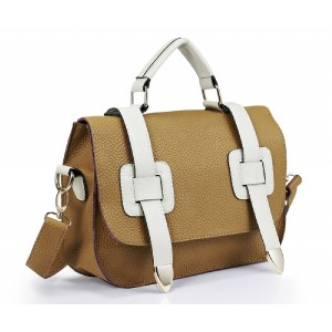 Faux Leather Satchel Tan and Cream - DBA011