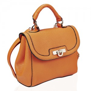 Faux Leather Top Handle Crossbody Handbag - DBA002