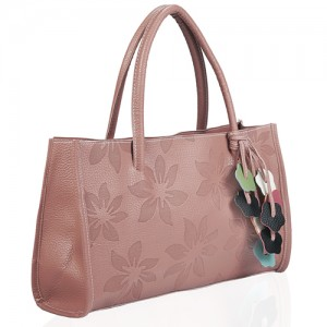 Flower Embossed Faux Leather Shopper Coral - DBA004