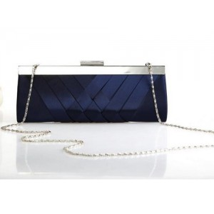 Navy Blue Satin Evening Bag - EBA007