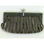 Olive Green Satin Evening Bag - EBA014
