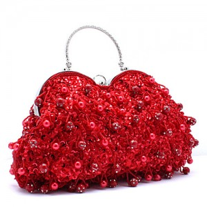 Red Beaded Evening Bag - EBA010