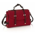 Red Felt Satchel Handbag - DBA014