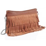 Real Suede Fringe Shoulder Bag Orange - DBA006