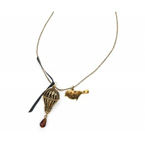 Bird and Cage Charm Necklace - BIR001